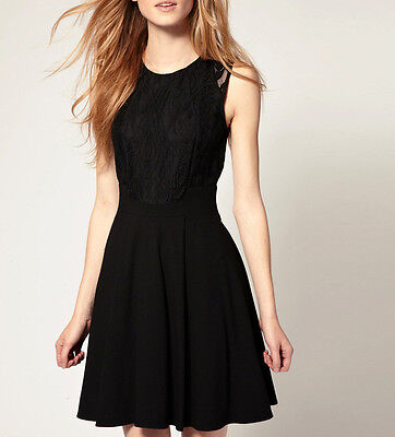 Women Juniors Black Sleeveless Lace Chiffon Cocktail Party Mini Dress XS S 0P 2P ()