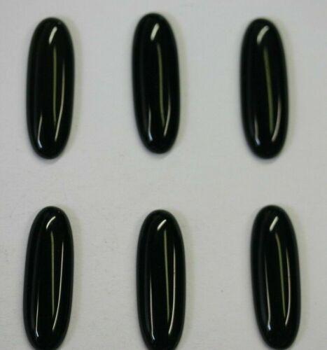 4pcs 7x20mm Natural Black Onyx Calibrated Long Oval Cabochon Gemstones Cab Gems