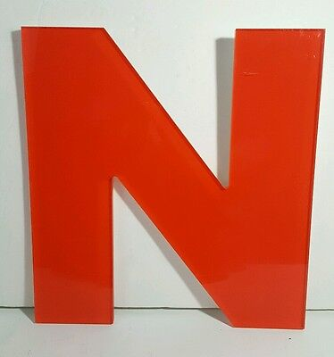 12 Acrylic Advertising Sign Letter N Red Indoor Outdoor