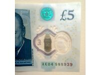 AK04 Five Pound New Note - FREE DELIVERY