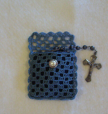 Hand Filet Crochet Dark Blue With Navy Blue Lining Rosary Jewelry Pouch Case