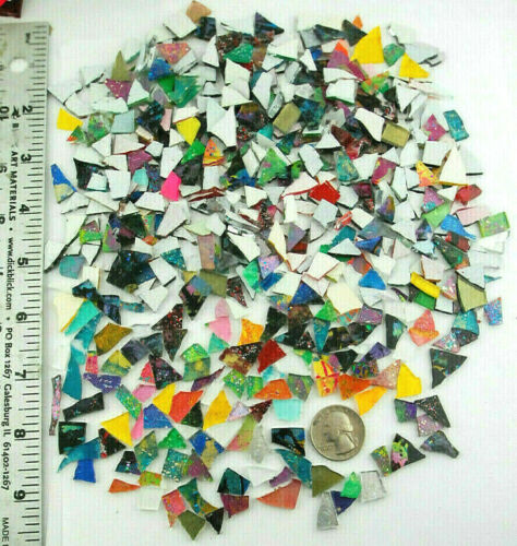 BIG 1/2 pound bag of MICRO MOSAIC scrap Colored glass pieces  by Makena Tile