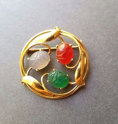 Scarab Brooch 14K Yellow Gold Vintage 3 Carved Gemstone Circle Pin