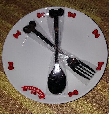 New Sanrio Hello Kitty 12 Ribbon Ceramic Dessert Plates and Spoon Forks Set