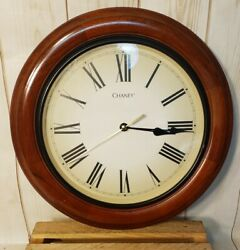 Chaney Round Wood Wall Clock Classic Style 13 Glass Face Quartz Battery Operate