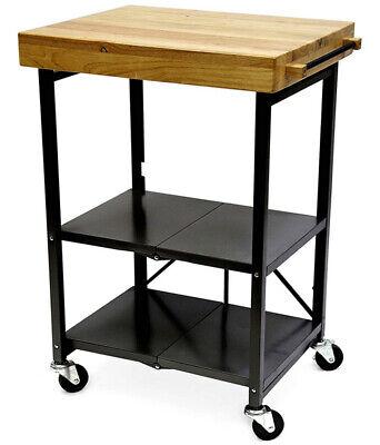 Folding Kitchen Cart Portable Island Small Butcher Block 2 Shelf Utility Server