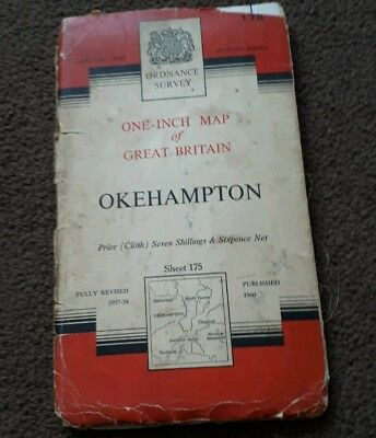 Vintage National Grid Ordnance Survey One Inch Map OKEHAMPTON 1960 Cloth