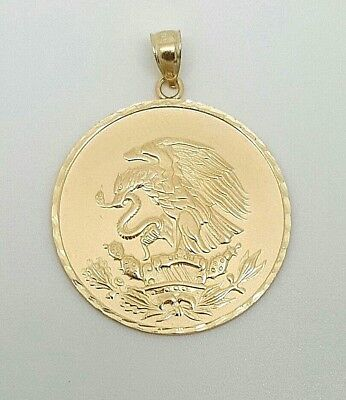 14k Gold Round Snake Pendant (14k Yellow Gold Eagle Hunting Snake Coat of Arms of Mexico Pendant 29MM Unisex )
