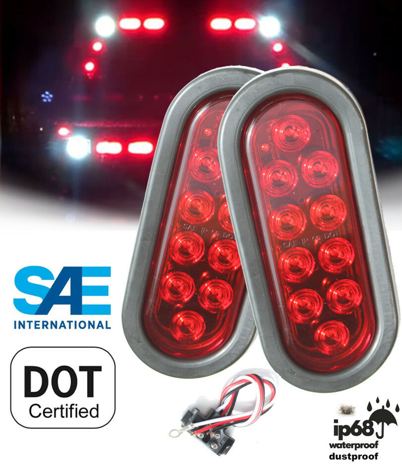 "Pack of 2 Trailer Truck RED 6"" Oval Stop Turn Tail LED Light Kit w Grommet Plug"