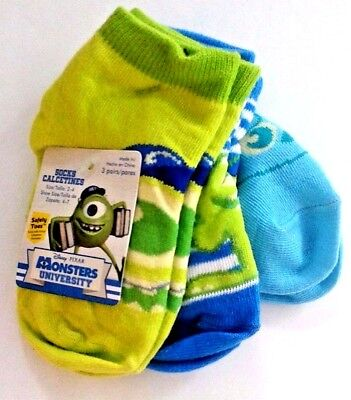3 pair Monsters University socks sizes 18-24 months or 2-4 nwt