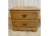 Vintage Solid wooden Bedside Table -2 Drawers- Pine 1980s AMERICAN Brass Handles