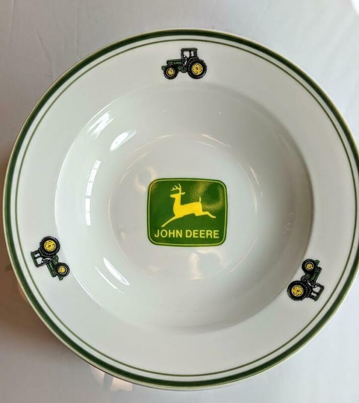 "Set of 4 Gibson ~ JOHN DEERE TRACTOR ~ Large Rim Soup Cereal Salad Bowls 9""  EUC"