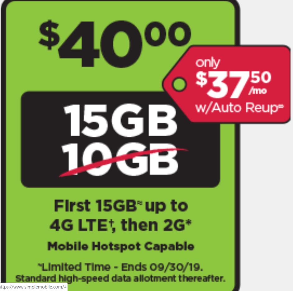 как выглядит Preloaded Simple Mobile SIM Card 40 plan - text/talk/15GB LTE data - 30 days фото