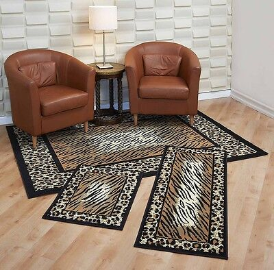 Resign Rugs 3 Piece Set Living Room Bedroom Area Floor Mat Runner Scatter Leopard