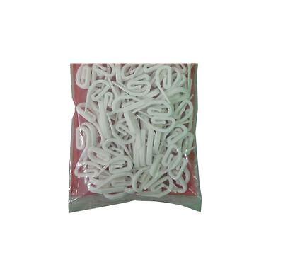 100 Curtain Hooks White Plastic Nylon Tape Track Rail Gliders Runner Loop Wide