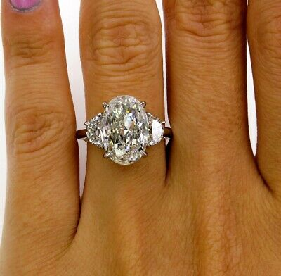 1.30 Ct Oval Cut Diamond Engagement Ring 3-Stone w/ Half Moon F,VS2 GIA 14K WG