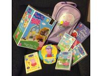 Peppa Pig Items Bundle see List & Photos - Luggage holdall - Sealed DVDS - House - Book - GAMES