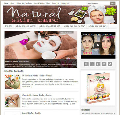 Natural Skin Care   Niche Blog Website Business For Sale W  Auto Content
