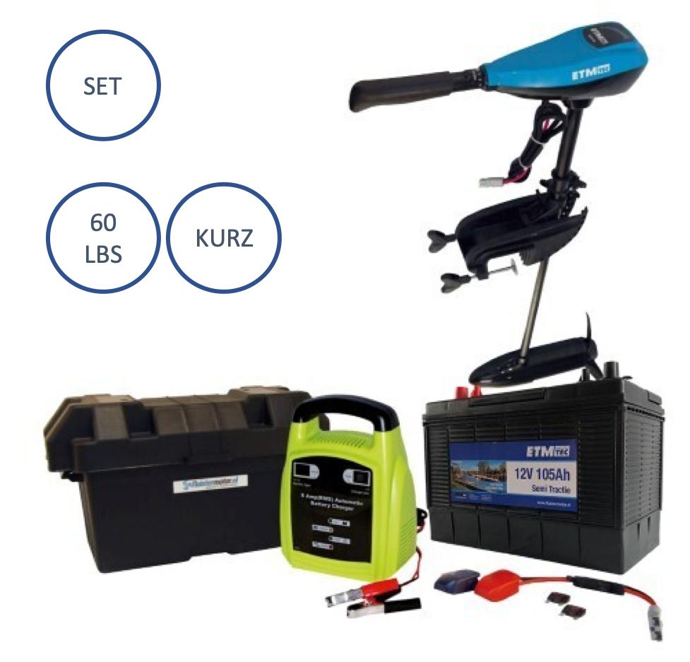 Komplett Set ETM-Tec Azure 60 Lbs KURZ , Elektro Aussenborder mit Batterie+ Acc.