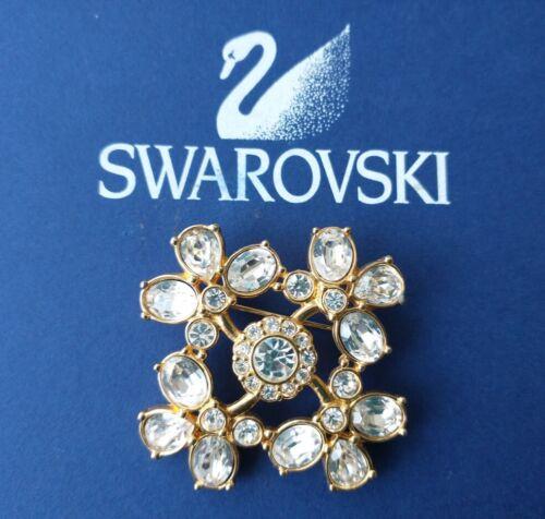 SWAROVSKI Swan Signed Clear Crystals Flower BROOCH