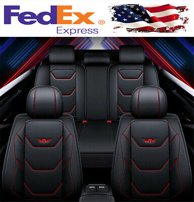 Luxury 5-Seats Car Seat Covers Black Red PU Leather Interior Full Set Universal