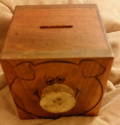 Vintage Piggy Bank Square Wood Toystalgia Inc. 1976