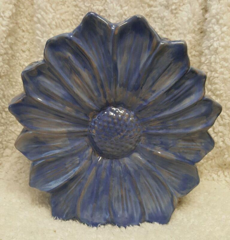Vintage STANGL TERRA ROSE Blue Daisy Sunflower 11.5 inch VASE Planter