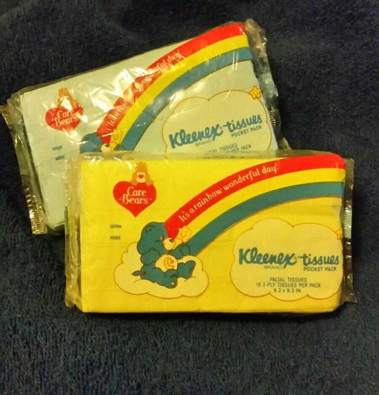 Lot of 2 Vintage Care Bears Kleenex Tissues Pocket Pack Blue/Yellow 1985