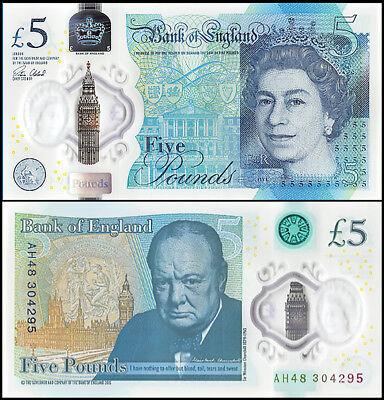 Great Britain - England 5 Pounds, 2015, P-394, UNC, Polymer, Queen Elizabeth II