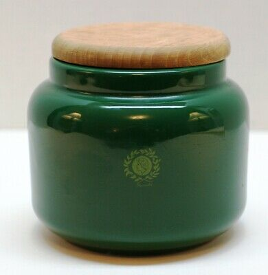 Vintage Mamma Ro'  Pottery Made in Italy Stoneware Jar w Wooden Lid Forest Green