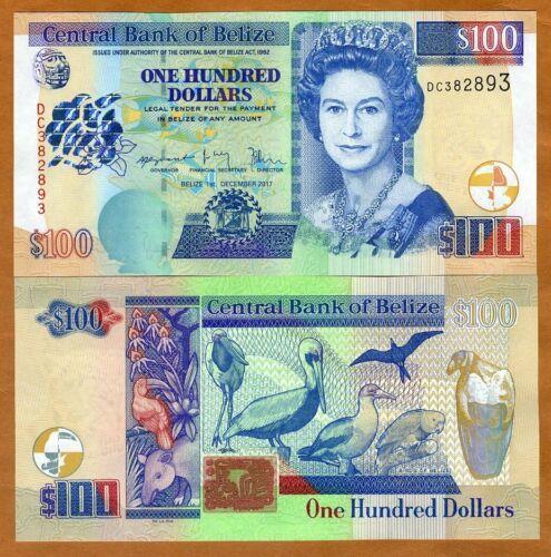 Belize, 100 Dollars, 2017, QEII, P-71d, New Date and Signature Highest Denom UNC