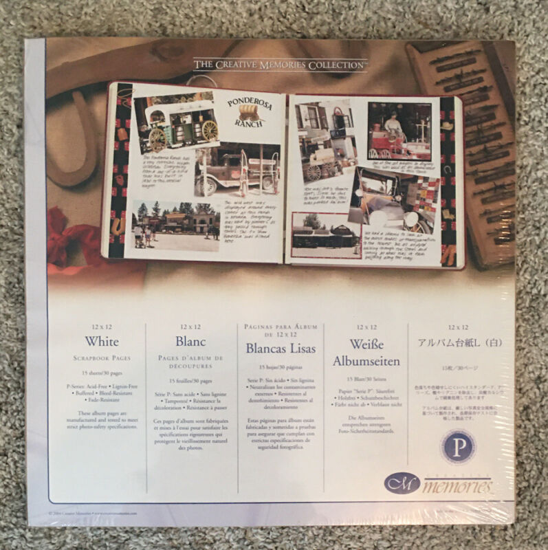 New Creative Memories 12 x 12 Sealed Retired ~ WHITE PAGES (Old Style) 15 Pages