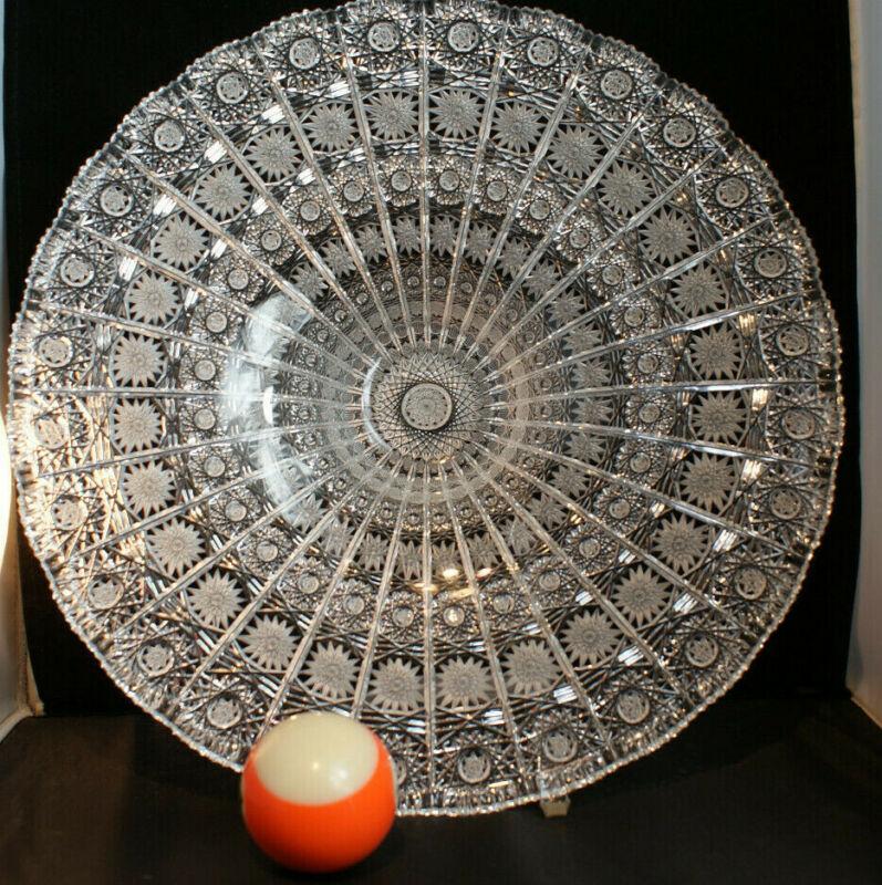 Bohemian Cut Crystal Low Bowl / Platter Star Sawtooth 28 Panels Queen Pattern
