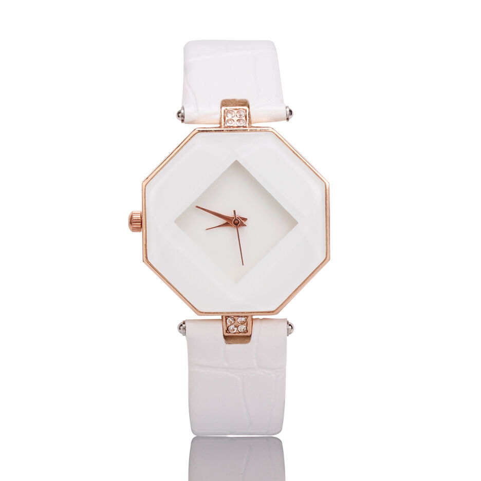 New Women 's Fashion Leather Band Analog Quartz Diamond Wrist Watch Watches