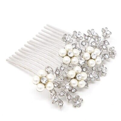 Elegant flower pearl and crystal bling Hair Comb Clip Prom W