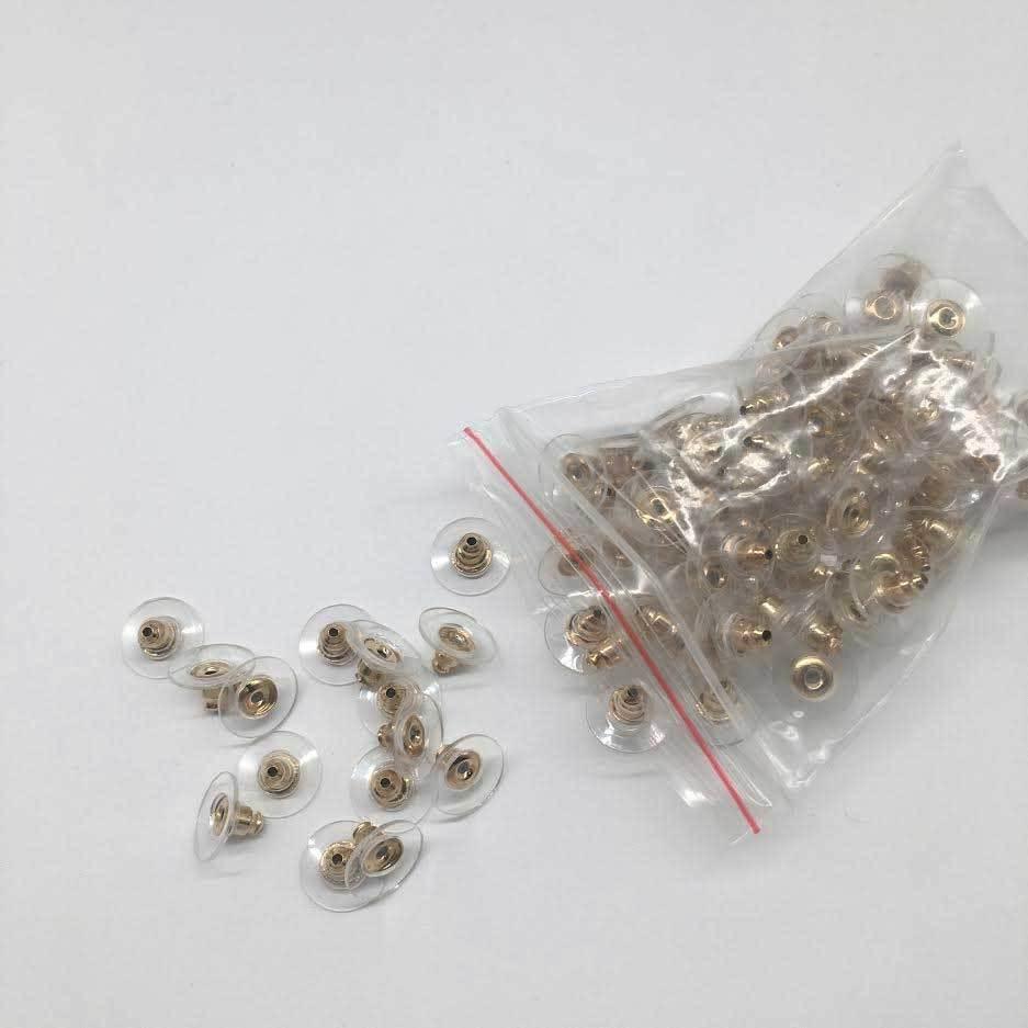 100 Earring Backs Posts Silver Golden Backings Stopper Ear Ring Jewelry Nut 11 Beads & Jewelry Making