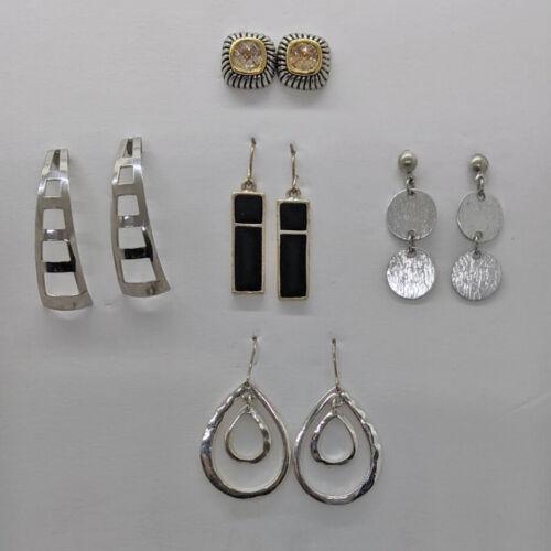 5 Pr Vintage 2 Now Silver Tone Earrings Enamel Rhinestone Hoops Drop Dangle Mod