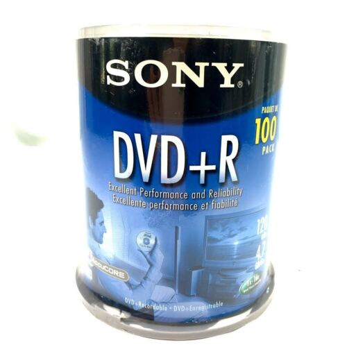 Sony DVD+R, 100 Pack Accucore 120 min/ 4.7GB/Go RW DVD+R, Sealed Brand New