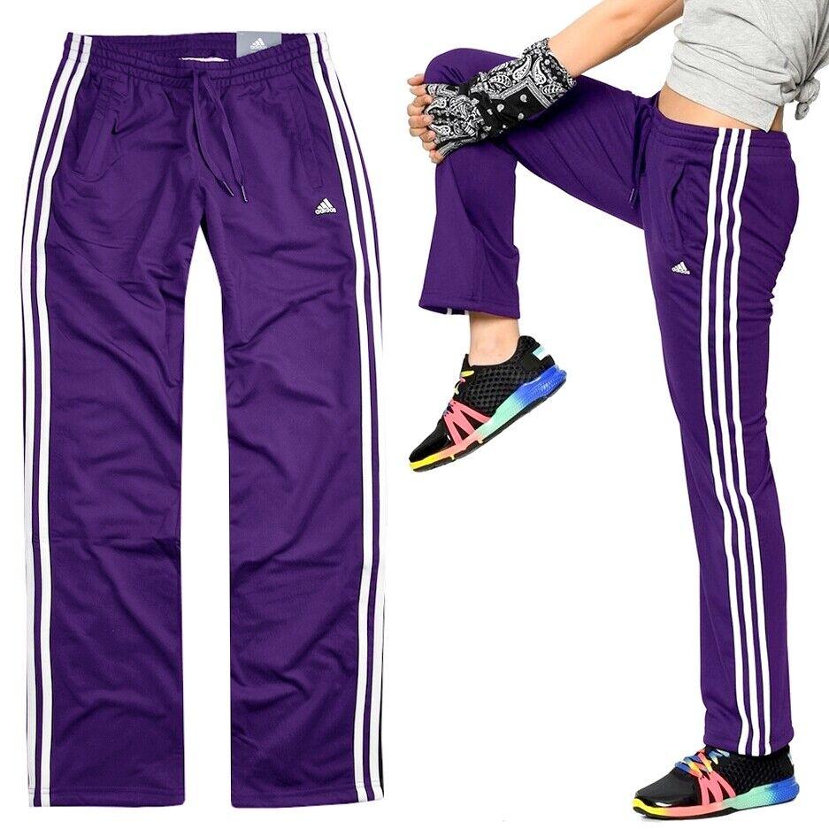 29b9026c035085 Adidas Damen Trainingshose 3S Sport Hose Jogginghose Firebird Laufhose  lila weiß