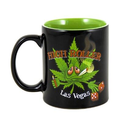 High Roller Las Vegas Coffee Mug Cup Green Pot Leaf Cannabis Marijuana Weed