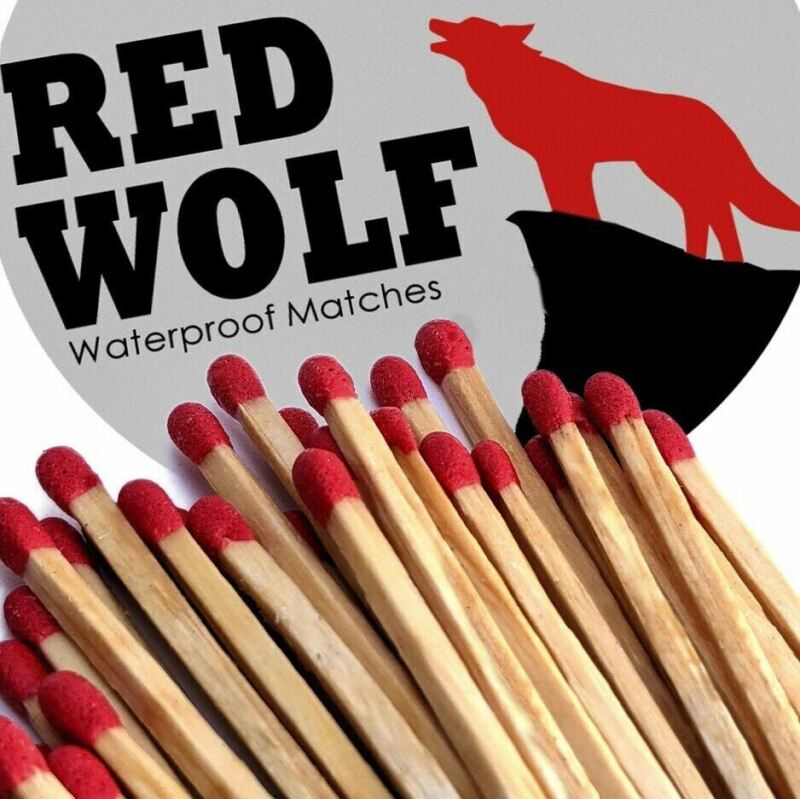 Waterproof Wooden Matches Red Wolf Camping Survival Emergency Gear 2 Tins
