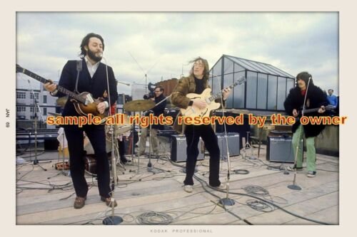 THE BEATLES  ROOFTOP CONCERT 1969 John & George SET OF 2 - 8x10 & 8x12 let it be