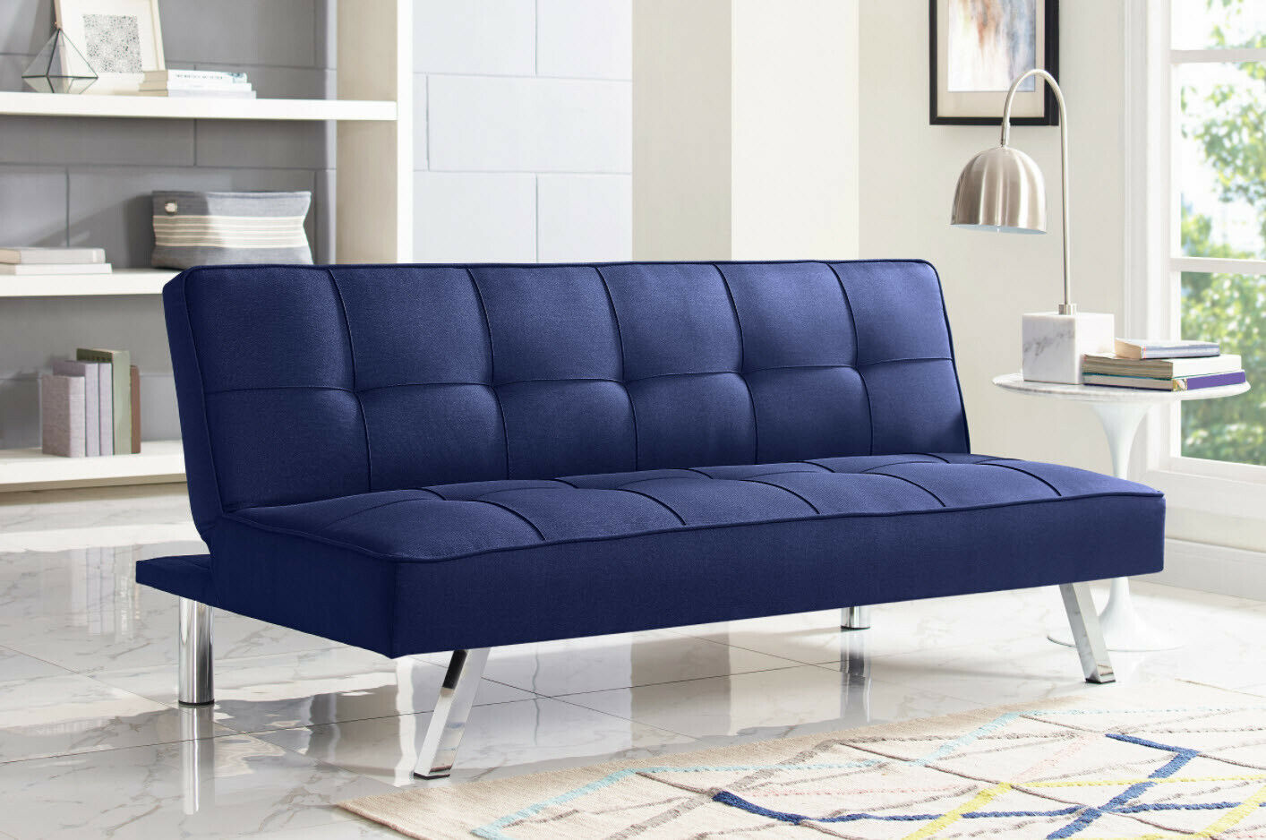 SOFA BED SLEEPER 3-Seat Blue Tufted Fabric Chrome Convertible Couch Futon