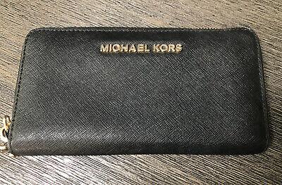 Michael Kors Jet Set Wallet 3/4 Zip Black Coated Leather