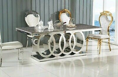 LUXURY ITALIAN STYLE DINING TABLE - GREY MARBLE TOP (180CM)