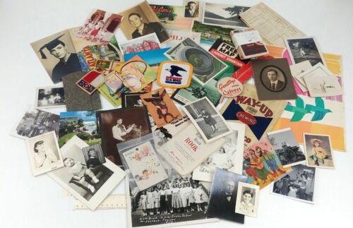 Ephemera Junk Drawer Lot 81 Items Photos Postcards Maps Patches Random Paper VTG