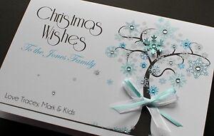 LARGE Handmade Personalised WINTER TREE CHRISTMAS Card