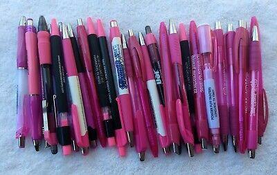 30 Piece Bulk Lot Of Misprint Pink Rose Magenta Retractable Click Pens