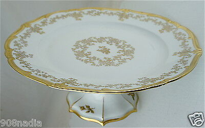 VINTAGE WHITE,GOLD FLOWER GARLAND,FOOTED LARGE CAKE PLATE GERMANY MADE Large Footed Cake Plate