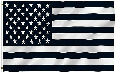3'x5' BLACK and WHITE AMERICAN FLAG, military, nascar, army USA premium - Black And White Flag